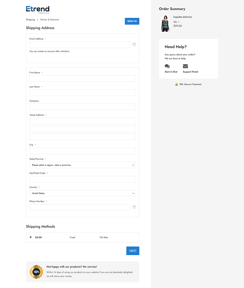 Etrend Checkout Page
