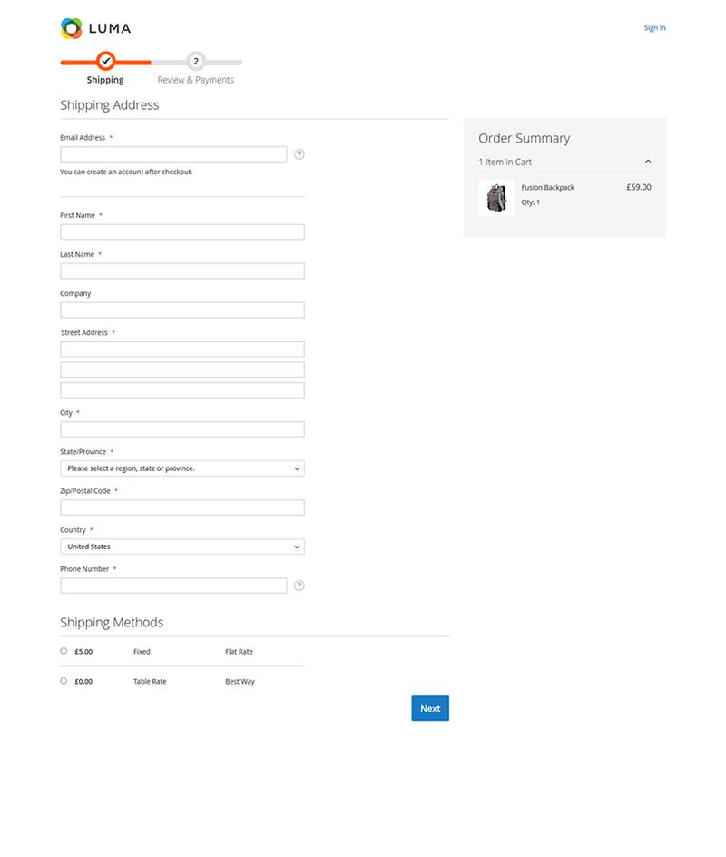 Magento Luma Checkout Page